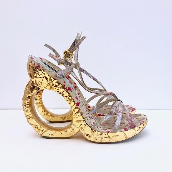 Louis Vuitton Shoes - LOUIS VUITTON Ferrique Gold Silver Wedges Sandals